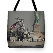 Fleet Week Vessels Pass By The Statue Tote Bag