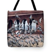 Flight Of Pigeons Inside The Jama Masjid In Delhi Tote Bag