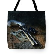 Flint Lock Pistol And Playing Cards Tote Bag