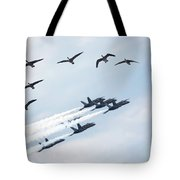 Flock Of Canada Geese At Air Show Tote Bag