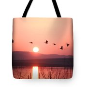 Flock Of Canada Geese Flying Tote Bag