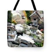 Flock Of Rustic Birdhouses Tote Bag