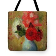 Floral Arrangement In Green Vase Tote Bag