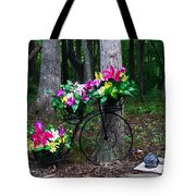 Floral Bicycle On A Cloudy Day Tote Bag