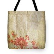 Flower Pattern On Old Paper Tote Bag