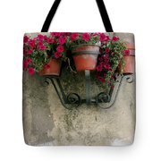 Flower Pots On Old Wall Tote Bag