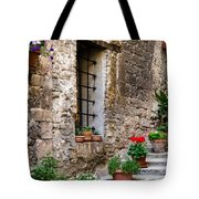 Flowered Stairway Tote Bag