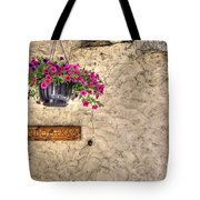 Flowers And A Signboard Tote Bag