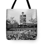 Flowers At Citi Field In Black And White Tote Bag by Rob Hans