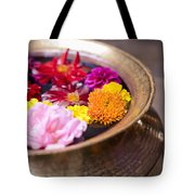 Flowers Floating In A Bowl Filled With Tote Bag