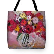 Flowers In A Glass Vase Tote Bag