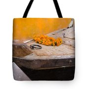 Flowers On Top Of Wooden Canoe Tote Bag