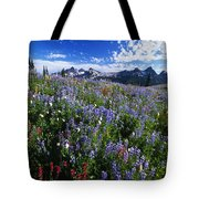 Flowers With Tattosh Mountains, Mt Tote Bag