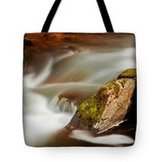 Flowing River Blurred Through Rocks Tote Bag