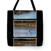 Fly Fishing Triptych Black Background Tote Bag