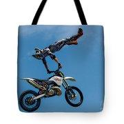 Flying High Motorcyle Tricks Tote Bag