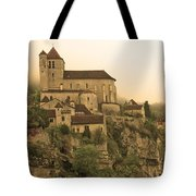 Fog Descending On St Cirq Lapopie In Sepia Tote Bag
