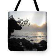 Fog On The Rocks Sunrise Tote Bag