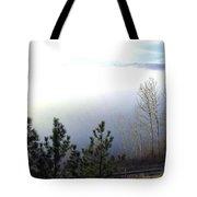 Fog On Wood Lake Tote Bag