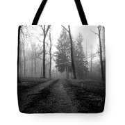 Foggy Lane By The Lake Tote Bag