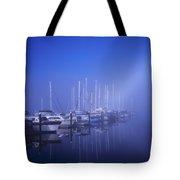 Foggy Morning At A Marina Tote Bag