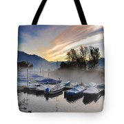 Foggy Port In Sunrise Tote Bag
