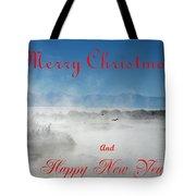 Foggy River Christmas Tote Bag