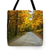Follow The Yellow Leafed Road Painted Tote Bag