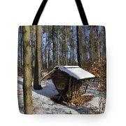 Food Point For Animals In Winterly Forest Tote Bag by Matthias Hauser