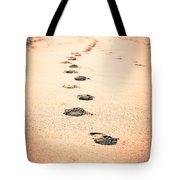 Footprints In Sand Tote Bag by Paul Velgos