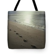 Footprints In The Sand On A Beach Tote Bag