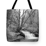 Forest Creek Waterfall In Black And White Tote Bag