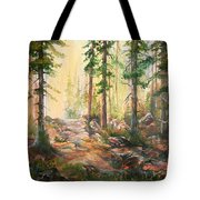 Forest Light Triptych Tote Bag