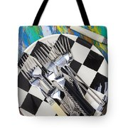 Forks On Checker Plate Tote Bag