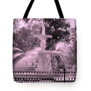 Forsyth Park Fountain In Pink Tote Bag