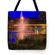 Fountain And Bridge At Night Tote Bag