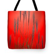 Fountain Grass In Red Tote Bag