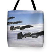 Four A-10 Thunderbolt IIs Fly Tote Bag