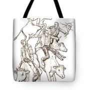 Four Mad Cowboys Of The Apocalypse Tote Bag