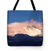 Four Skydivers With Longs Peak And Mount Meeker Rocky Mountain H Tote Bag