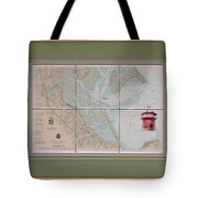 Framed Plymouth Bay With Lighthouse Tile Set Tote Bag