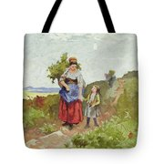 French Peasants On A Path Tote Bag by Daniel Ridgway Knight