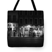 French Quarter Shopping At Night - Black And White Tote Bag