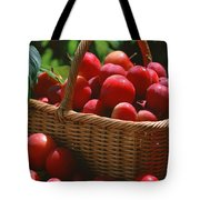 Fresh Red Plums In The Basket Tote Bag