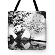 Fresh Snow And Reflections In A Japanese Garden 1 Tote Bag