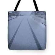 Fresh Tire Tracks In The Snow Tote Bag