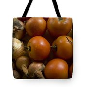 Fresh Tomatos And Onions From A Garden Tote Bag
