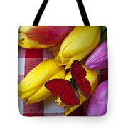 Fresh Tulips And Red Butterfly Tote Bag