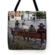 Friends On Park Bench Tote Bag