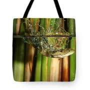 Frog Jumps Into Water Tote Bag by Ted Kinsman